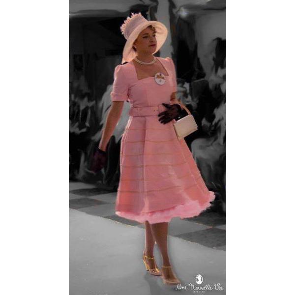 Abito rosa con profili velluto - unenouvellevie a5d87d4191f