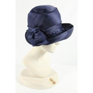Cappello blu in raso Vintage