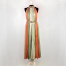 Abito lungo Vintage 1980 color rosa, verde chiaro e arancione